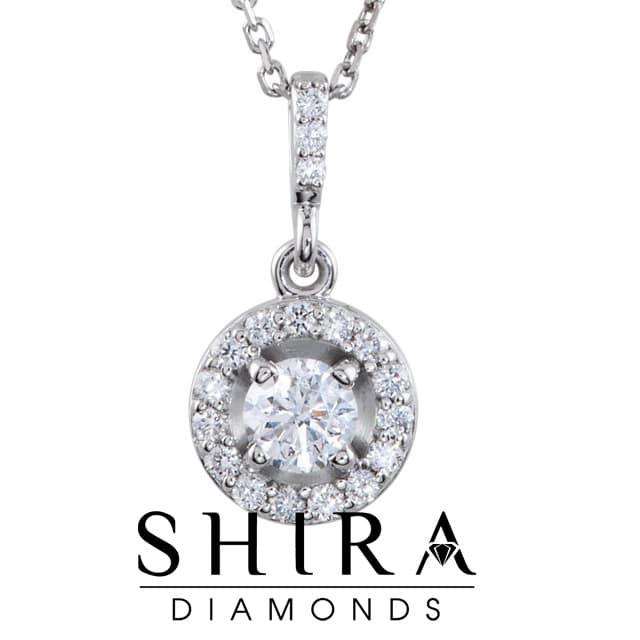 1 CTW 14k Round Diamond Necklace Pendant Dallas Texas 2 1, Shira Diamonds