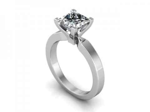 1 Carat Solitaire Diamond Ring - Princess Cut Diamond Ring Dallas 1