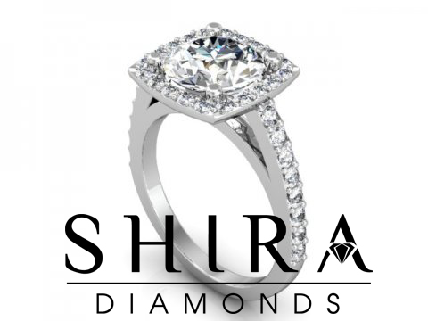 2 Carat Round Halo Diamond Engagaement Ring Shira Diamonds 1 1, Shira Diamonds