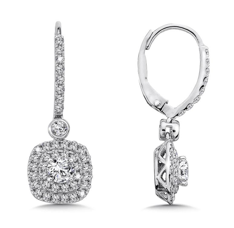 3 Carat Drop Earrings Custom Diamond Earrings Round Drop Earrings Jewelry Store Abilene Texas