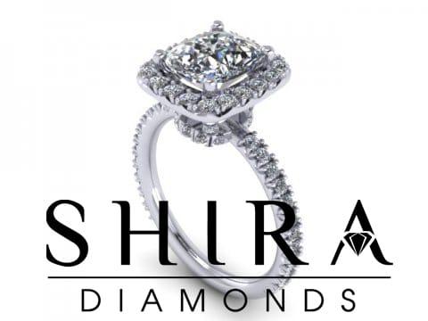 Cushion Halo Diamond Engagement Ring - Lifted Halo - Custom Cushion Halo Ring - Dallas Texas - Shira Diamonds 1