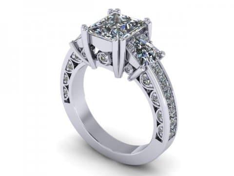 Custom 3 Stone Engagement Ring Princess Ring Rockwall Texas 1