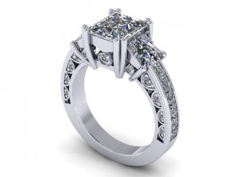 Custom 3 Stone Engagement Ring Princess Ring Rockwall Texas 1, Shira Diamonds