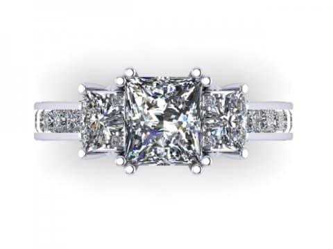 Custom 3 Stone Engagement Ring Princess Ring Rockwall Texas 2, Shira Diamonds