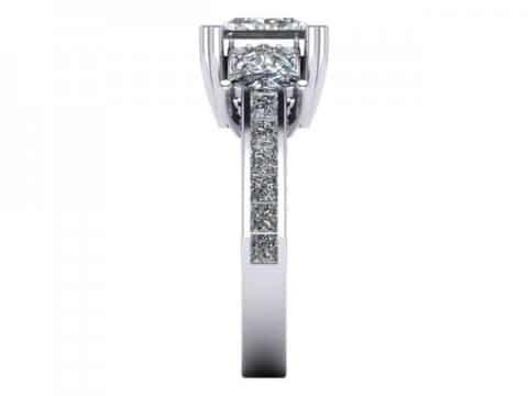 Custom 3 Stone Engagement Ring Princess Ring Rockwall Texas 3