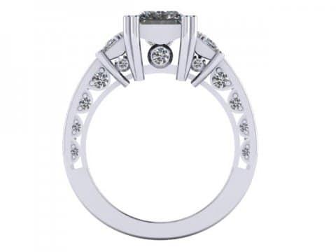 Custom 3 Stone Engagement Ring Princess Ring Rockwall Texas 4