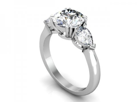 Custom 3 Stone Engagement Ring Yorktown 1, Shira Diamonds