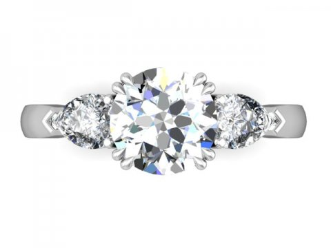 Custom 3 Stone Engagement Ring Yorktown 5, Shira Diamonds