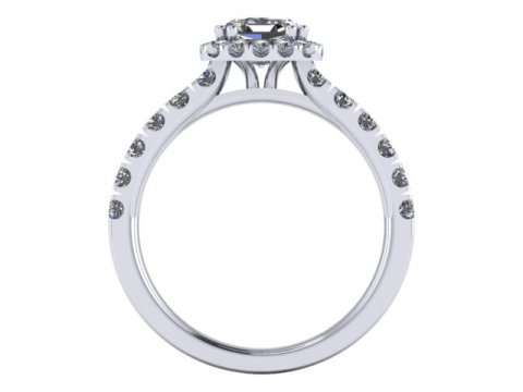 Custom Asscher Engagement Rings Dallas Texas - Halo Engagement Ring 2