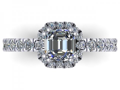 Custom Asscher Engagement Rings Dallas Texas - Halo Engagement Ring 3