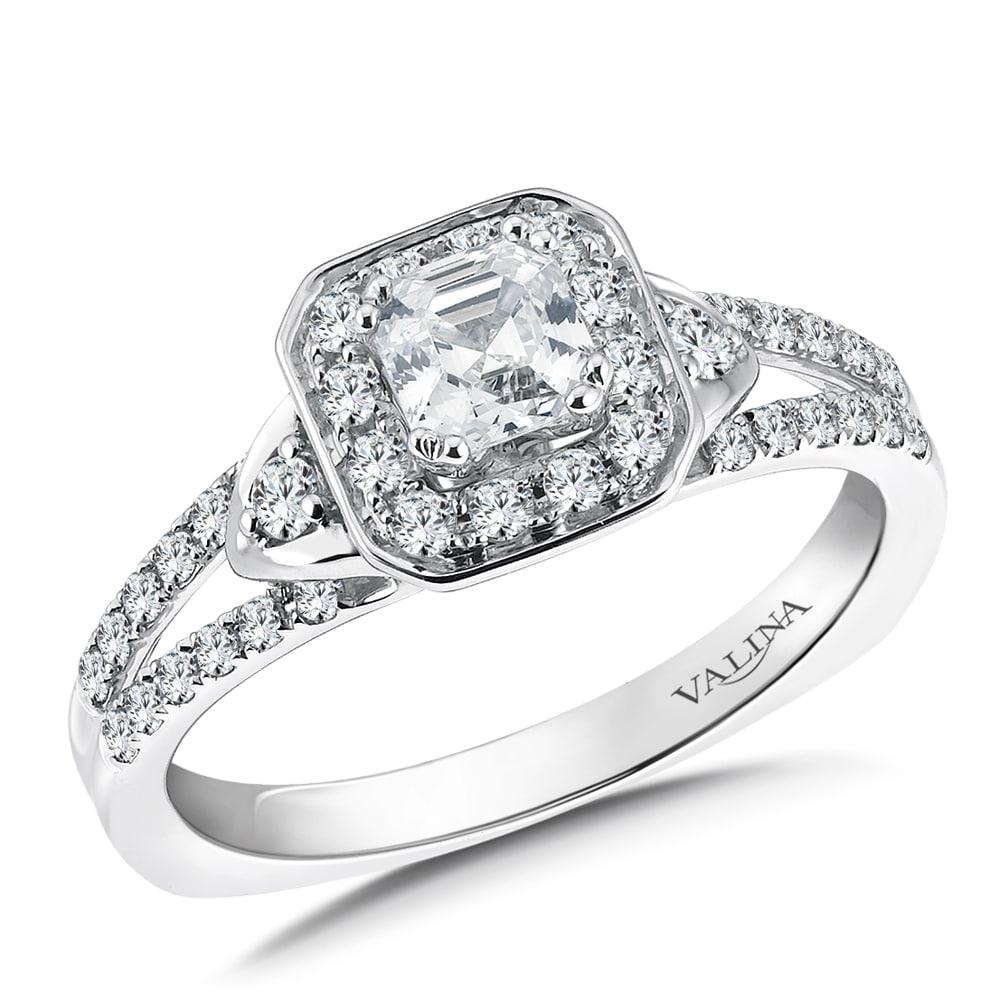 Custom Asscher Halo Engagement Ring Dallas 1
