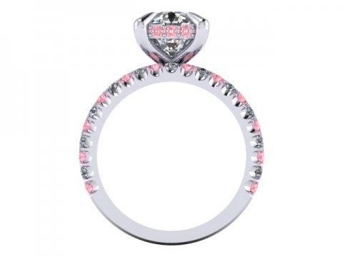 Custom Cushion Diamond Engagement Ring Pink Diamonds Wholesale Diamonds Dallas 1, Shira Diamonds