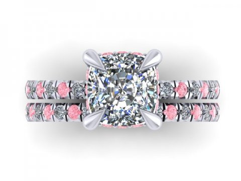 Custom Cushion Diamond Engagement Ring Pink Diamonds Wholesale Diamonds Dallas 2, Shira Diamonds