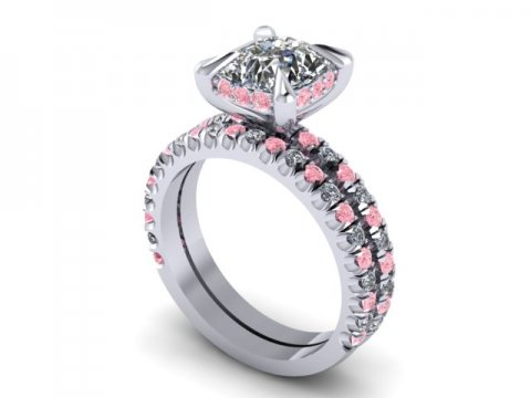 Custom Cushion Diamond Engagement Ring Pink Diamonds Wholesale Diamonds Dallas 3, Shira Diamonds
