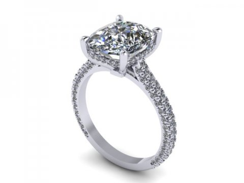 Custom Cushion Diamond Engagement Rings 1, Shira Diamonds