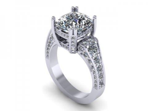 Custom Diamond Ring Cushion Diamond Ring 1 1, Shira Diamonds