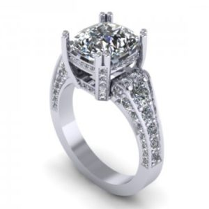 Custom Diamond Ring - Cushion Diamond Ring 1