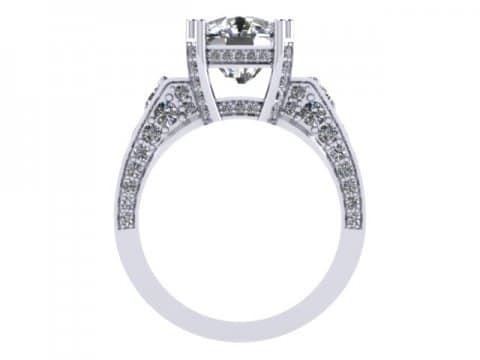 Custom Diamond Ring Cushion Diamond Ring 3 1, Shira Diamonds