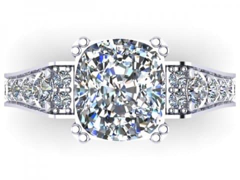 Custom Diamond Ring Cushion Diamond Ring 4 1, Shira Diamonds