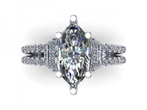 Custom Diamond Ring - Custom 1 Carat Marquise Diamond Ring Dallas 2