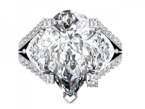 Custom Diamond Ring Dallas Pear 4 1, Shira Diamonds