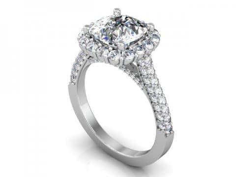 Custom Engagement Rings Dallas Custom Cushion Halo Engagment Ring 1, Shira Diamonds