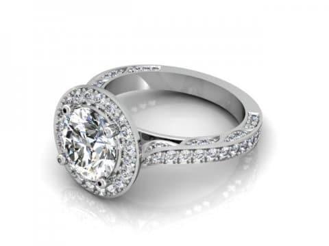 Custom Halo Engagement Rings Dallas - Round Halo Engagement Ring 1
