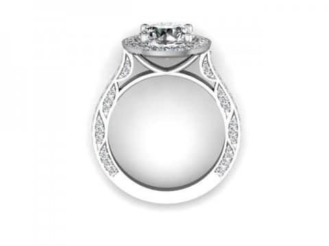 Custom Halo Engagement Rings Dallas - Round Halo Engagement Ring 3