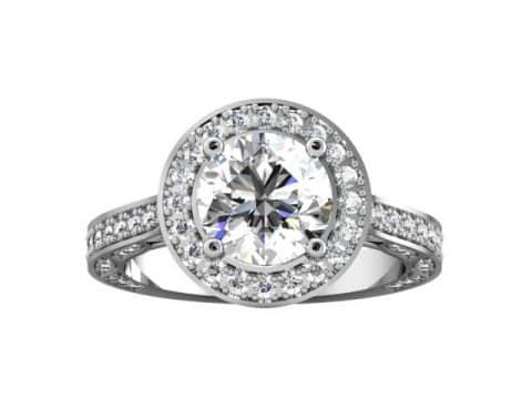 Custom Halo Engagement Rings Dallas - Round Halo Engagement Ring 4