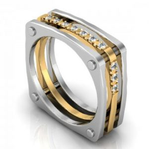 Custom Mens Wedding band 2 Tone White Gold Yellow gold Diamonds Dallas 1