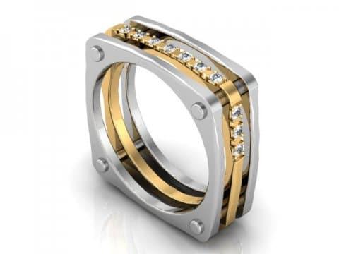 Custom Mens Wedding band 2 Tone White Gold Yellow gold Diamonds Dallas 1