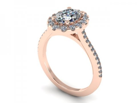 Custom Oval Halo engagement Ring rose gold 14kt - 2 carat halo engagement ring 1