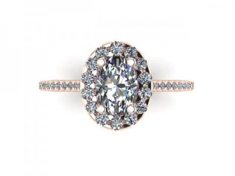 Custom Oval Halo Engagement Ring Rose Gold 14kt 2 Carat Halo Engagement Ring 2, Shira Diamonds