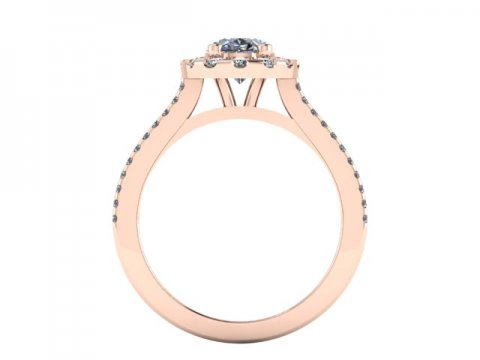 Custom Oval Halo engagement Ring rose gold 14kt - 2 carat halo engagement ring 4