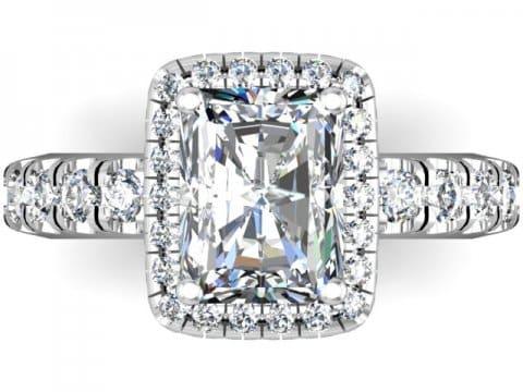 Custom Radiant Engagement Ring Halo Engagement Ring Dallas Texas 5 1, Shira Diamonds