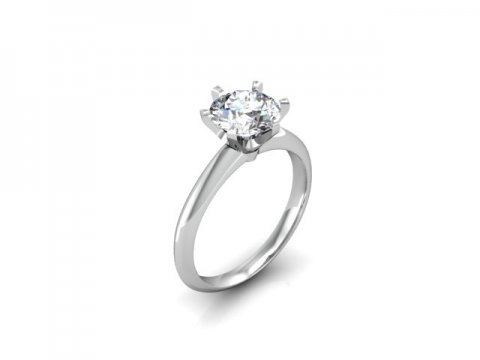 Custom Solitaire Engagement Ring White Gold Round - Addison Texas 1