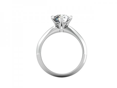 Custom Solitaire Engagement Ring White Gold Round - Addison Texas 3