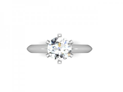 Custom Solitaire Engagement Ring White Gold Round - Addison Texas 4