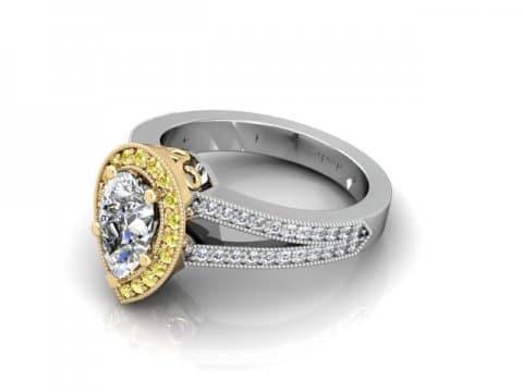 Custom Split Shank Halo Pear Diamond Ring 1