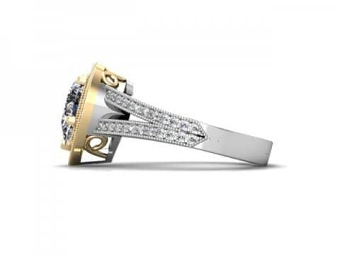 Custom Split Shank Halo Pear Diamond Ring 2