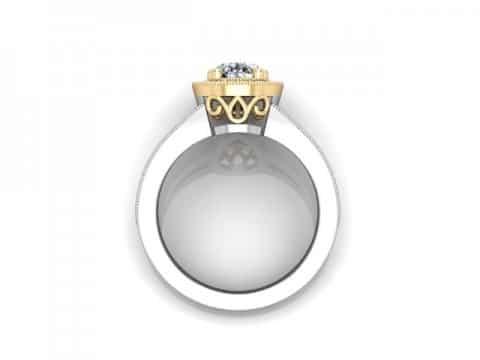 Custom Split Shank Halo Pear Diamond Ring 3