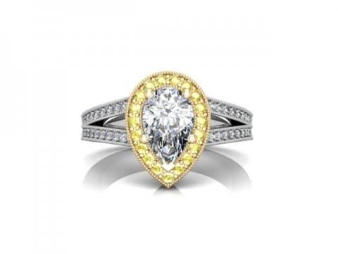 Custom Split Shank Halo Pear Diamond Ring 4
