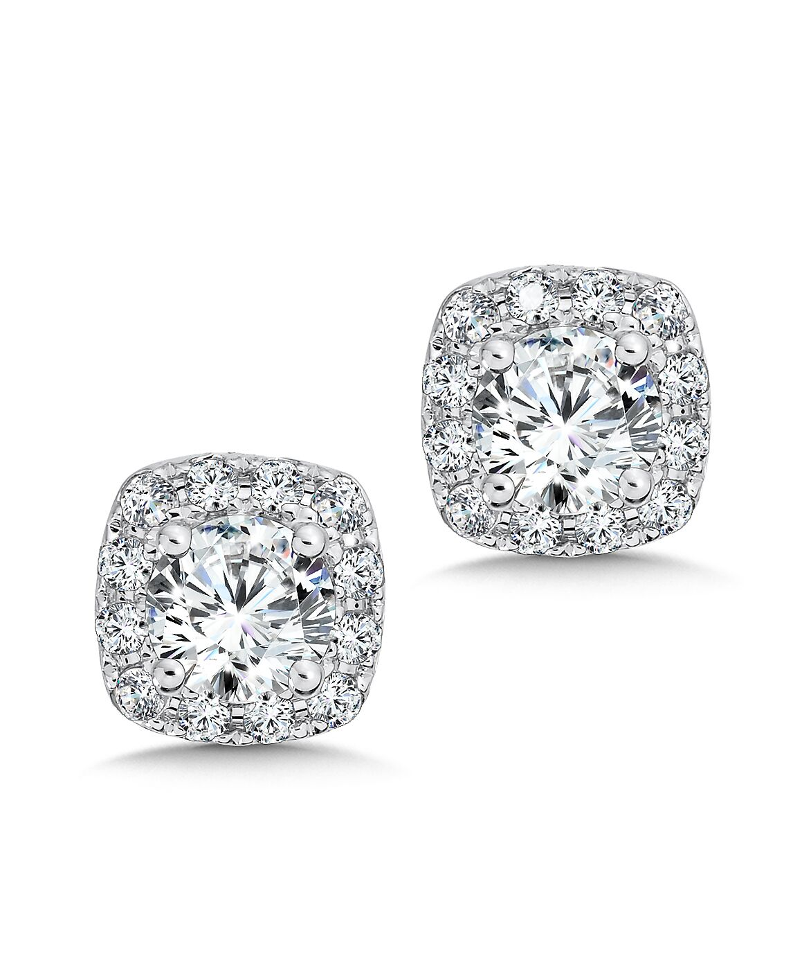 Custom Square Halo Diamond Studs - Custom Diamond Jewelry 1 Carat Diamond Studs Dallas 1