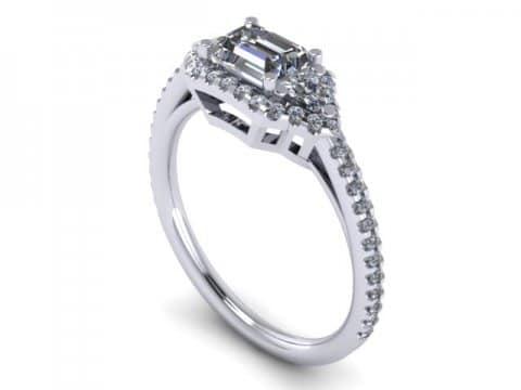Custom Emerald Diamond Ring Dallas 1 1 1, Shira Diamonds