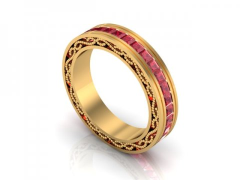Custom Ruby Wedding Band Dallas 1 1, Shira Diamonds