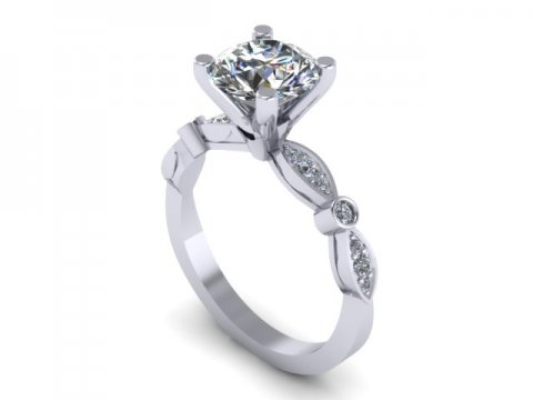Custom solitaire engagement ring 1