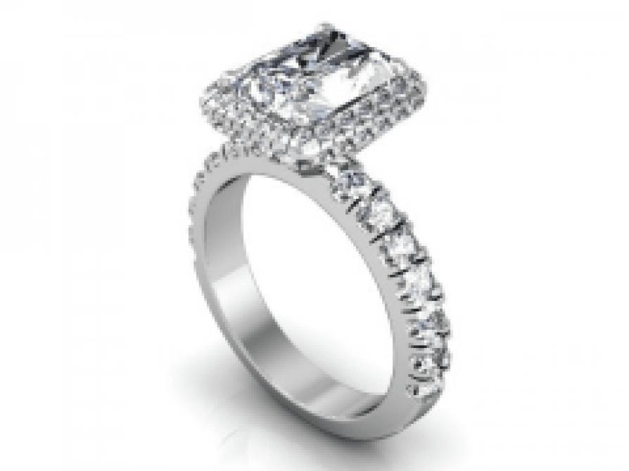 Custom Radiant Engagement Ring   Halo Engagement Ring   Dallas Texas 1, Shira Diamonds