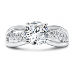 Custom Round Split Shank Diamond Ring, Shira Diamonds