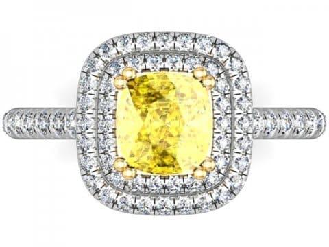 Double Halo Fancy Cushion Diamond Ring - Custom Rings Dallas 1