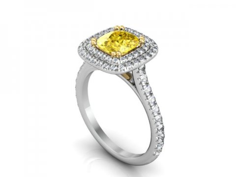Double Halo Fancy Cushion Diamond Ring - Custom Rings Dallas 2